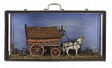 A VICTORIAN PAINTED WOOD MODEL OF A HORSE DRAWN LADEN WAGON, C 1900  i