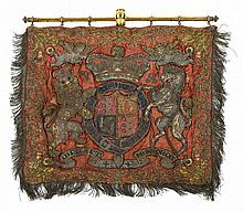 A VICTORIAN STATE TRUMPETER'S BANNER   of embroidered red silk worked