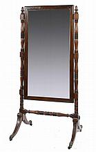 A GEORGE IV MAHOGANY, LINE INLAID AND EBONISED CHEVAL MIRROR, THE STAN