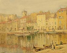 ADAM KNIGHT (1855-1931) THE QUAYSIDE AT CASSIS signed and inscribed, w