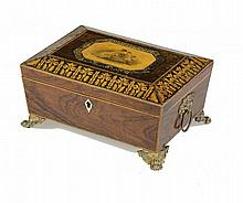 A REGENCY GRAINED ROSEWOOD AND PENWORK SEWING BOX, C1820-30  the lid a