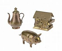 NEEDLEWORK TOOLS.  THREE GILT BRASS NOVELTY TAPE MEASURES, LATE 19TH C