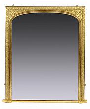 A VICTORIAN GILTWOOD AND COMPOSITION OVERMANTEL MIRROR, C1860  158cm h