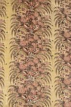 A VICTORIAN FLORAL PRINTED AND GLAZED COTTON QUILTED COVERLET  223 x 2