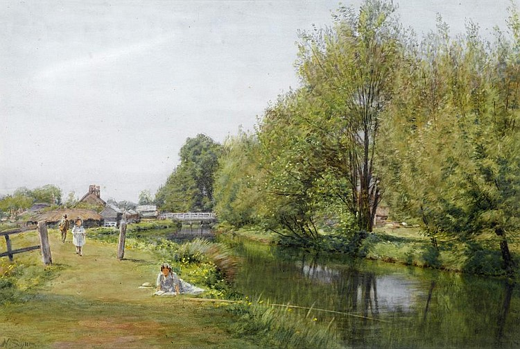 HENRY SYKES (1855-1921) ON THE KENNET CANAL AT