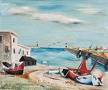ELAINE HAXTON (1909-1999) Untitled (Fishing Boats