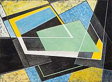 FRANK HINDER (1906-1992) Black/Yellow 1972 mixed