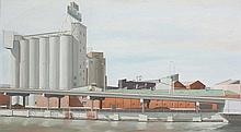STEPHEN BUSH born 1958 Behind the Silos 1982 oil