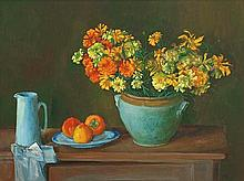 MARGARET OLLEY (1923-2011) Still Life with Marigolds and Persimmons c1918