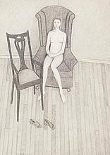 JOHN BRACK (1920-1999) Nude on High Backed Chair 1973