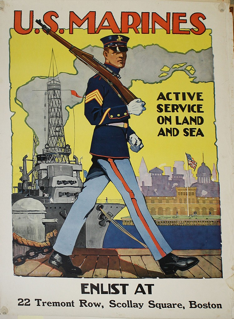 Unknown artist US Marines Active Service on Land &
