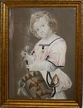 ca. 1850 American School pastel of A young boy