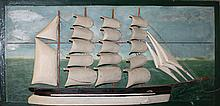 American paint decorated 4 mast ship half hull
