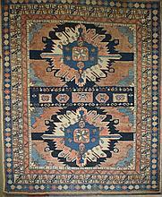 Kazak double eagle area rug, 5' 2