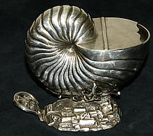Nautilus form silver sauce boat with simulated