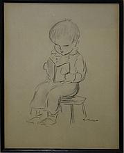 Tasha Tudor (VT 1915-2008) pencil sketch of young