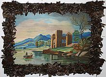 American School 19th c. colored sandpaper romantic