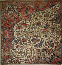 Rare 19th c Bijar sample carpet, 5' 4