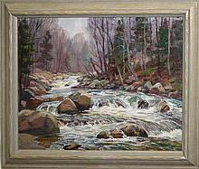 Thomas Curtin (VT 1899-1977) o/c Winter stream -