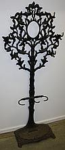 Fancy Victorian cast iron hall tree in tree and
