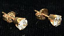 Pr. of 14 kt y.g. and diamond stud earings