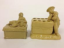 Two figural yellowware pieces- one covered box w/