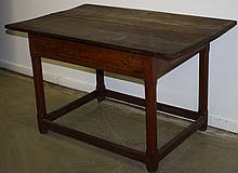 Quebec pine one drawer stretcher base tavern