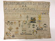 1849 sampler signed by Laura Tyler w/ rose,
