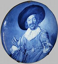 Delft blue and white porcelain portrait hand