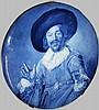 Delft blue and white porcelain portrait hand