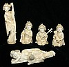 5 pc. signed carved ivory group- mother