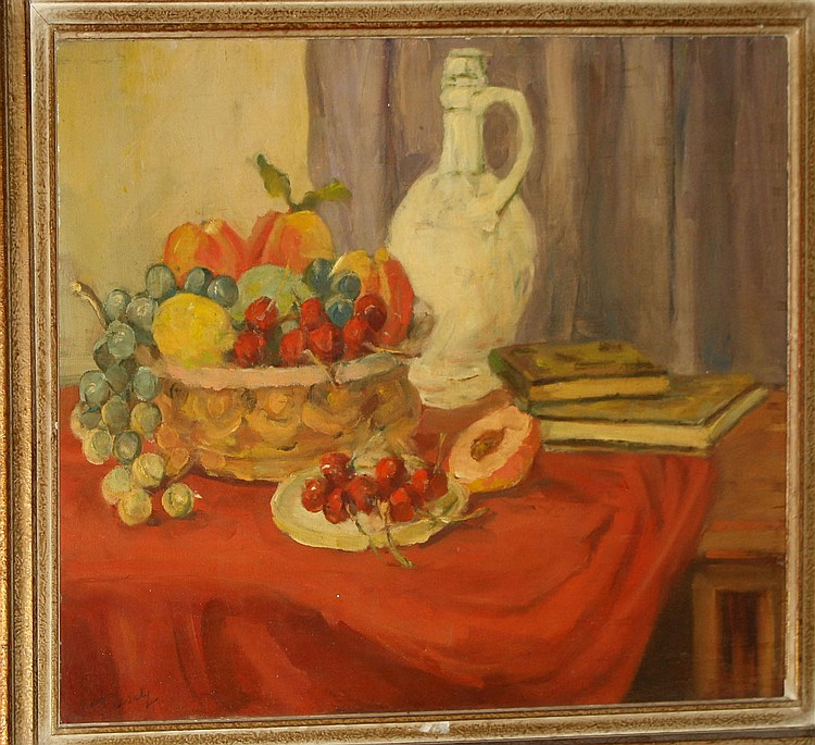F Lisdy o/b still life with fruit 16 x 20