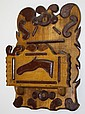 Folk Art wall box w/ applied dec incl moose head &