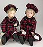 1911 Schoenhut boy & girl dolls- all wood, painted