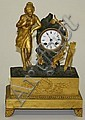 Ca 1810 French gilt bronze shelf clock with full