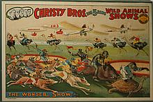 1925 Christy Bros. litho wild animal show adv