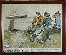 Red Star Line framed paper litho travel poster