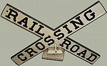 Early 20th c. cast iron RR Crossing sign, 33