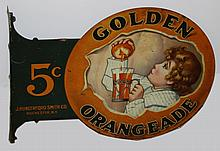 Golden Orangeade 5 cent dbl sided tin litho