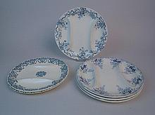 Six assiettes à asperges en faience fine de Longwy, trois modèles différent