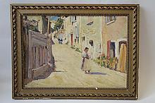 Ecole française du XXème siècle  La mère et son enfant dans une rue de