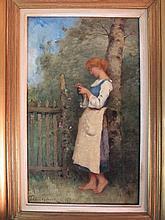 Paul Désirée TROUILLEBERT (1829-1900)  Jeune femme au jardin  Huile