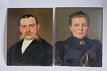 Emile BOUZIN (né en 1870)  Portraits d'homme et de femme  Huiles su