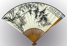 CHINESE PAINTED ON PAPER FAN BY XU ZONGHAO (1880-1957).