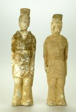 (2)  PAIR OF CHINESE WARRING STATES DYNASTY QI STATE POTTERY TOMB WARRIOR FIGURES.