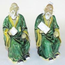 (2) PAIR OF CHINESE GLAZED 'SHI WAN' POTTERY MUD FIGURINES.C405.