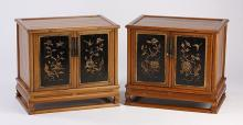(2)  PETITE MID 20TH C. CHINESE GILT FLOWER DECORATION CHESTS