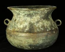 CHINESE LARGE BRONZE KETTLE, LATE WESTERN ZHOU, CIRCA 7TH OR 8TH BC.