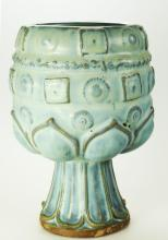 Chinese Tang Dynasty celadon zun with upright and pendant lotus flowers