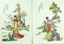 (4)  A SET OF FOUR PIECE CHINESE ENAMELED PORCELAIN PLAQUES.C420.